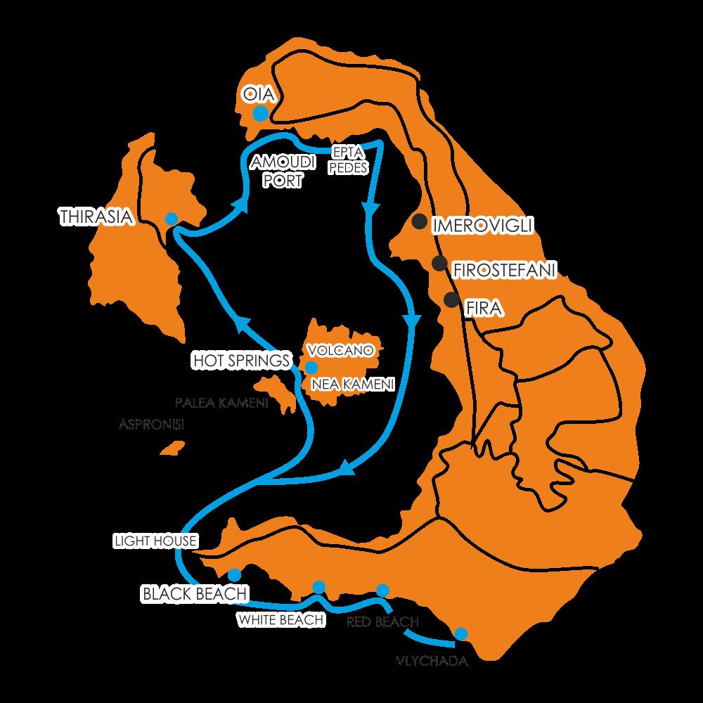 5h santorini cruise map