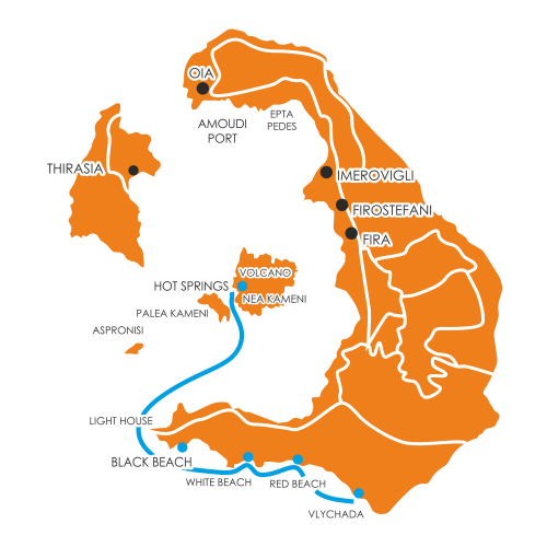 3h santorini cruise map